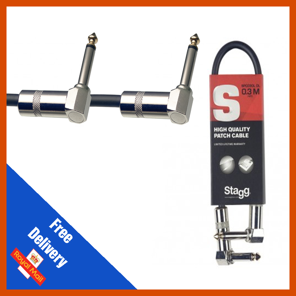 "Stagg GUITAR FX PEDAL PATCH CABLE LEAD 4/""//10cm With Angled Jacks SPC010L DL"