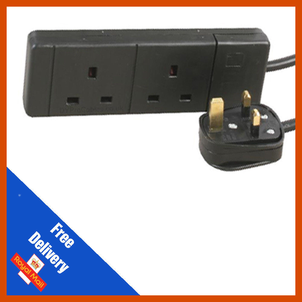 Black UK 3 Pin Plug with 2 Gang Socket Extension Lead Choose Length