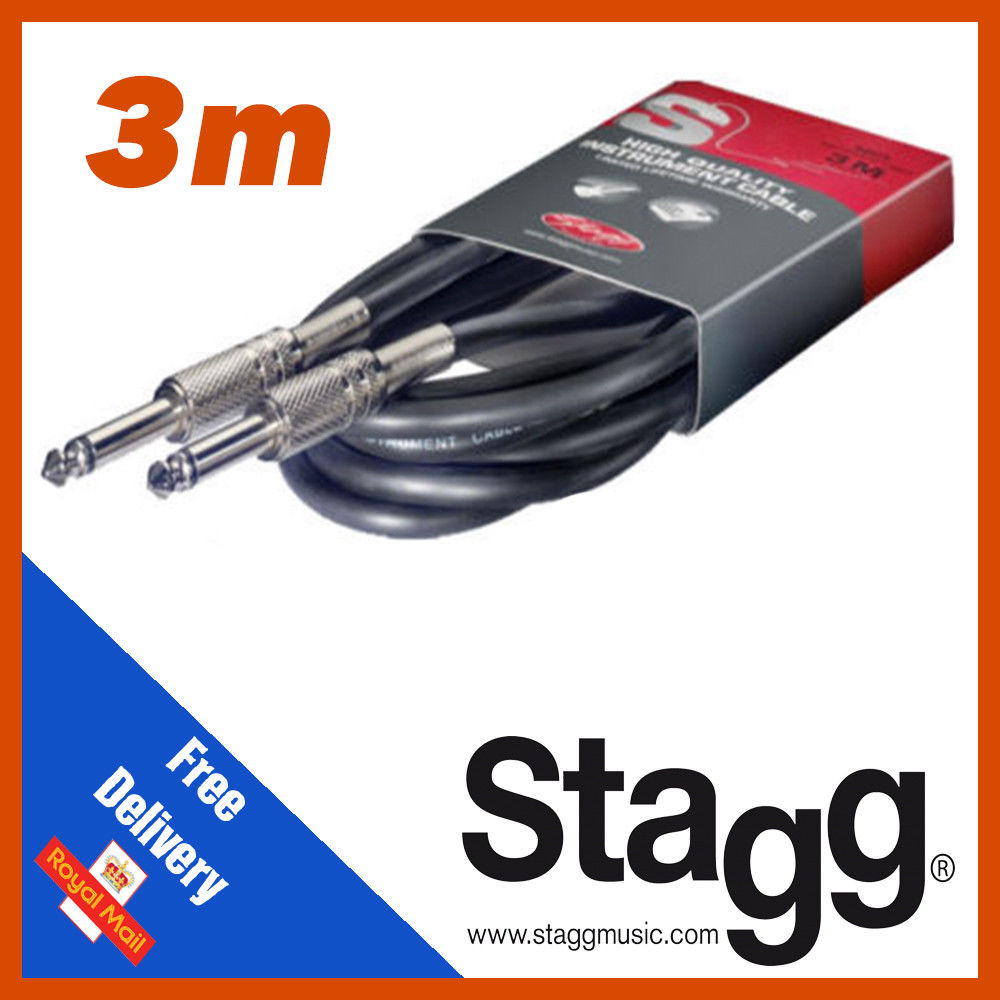 Stagg 3m Jack Angled Jack Instrument Guitar Cable